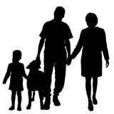 Vector silhouette of family with dog. Royalty Free Stock Image