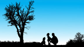 Vector silhouette of family. Royalty Free Stock Photography