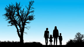 Vector silhouette of family. Royalty Free Stock Image