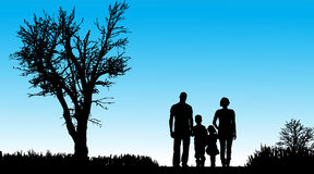 Vector silhouette of family. Vector silhouette of family in nature along the beautiful days Royalty Free Stock Image