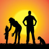 Vector silhouette of family. Stock Images