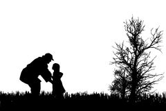 Vector silhouette of family. Royalty Free Stock Photo