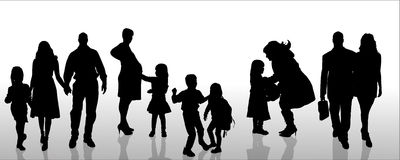 Vector silhouette of family. Stock Photos