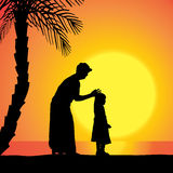 Vector silhouette of family. Stock Photo