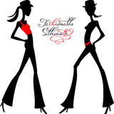 Vector silhouette of fashion girls top models Royalty Free Stock Photo