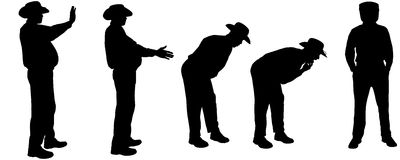 Vector silhouette of a fat man. Royalty Free Stock Photo