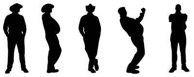 Vector silhouette of a fat man. Royalty Free Stock Photography