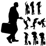Vector silhouette of a fat man. Stock Images