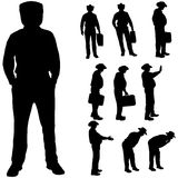 Vector silhouette of a fat man. Stock Image