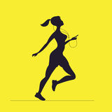 Vector silhouette of female sprinter. Morning running. Girl with. A player running Stock Photography