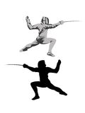 Vector silhouette fencer Royalty Free Stock Photo