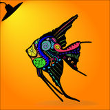 Vector silhouette of fish. Illustration of abstract, decorative fish with light, in the style of petroglyphs with elements of the pattern. EPS 10. Contains Royalty Free Stock Photos