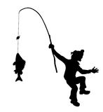 Vector silhouette fisherman Stock Images
