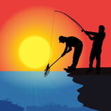 Vector silhouette of a fisherman. Vector silhouette of a man who fishes at sunset