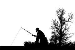 Vector silhouette of fishermen. Stock Image