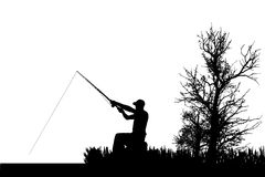 Vector silhouette of fishermen. Royalty Free Stock Image