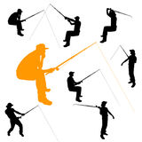 Vector silhouette of fishermen. Vector silhouette of fishermen on white background Royalty Free Stock Photography