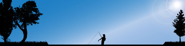 Vector silhouette of fishermen. Royalty Free Stock Photography