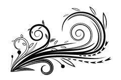 Vector silhouette floral black and white Stock Photo
