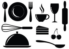Vector Silhouette of food,drink,bakery and coffee