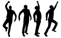 Vector silhouette of four business men of superheroes vector illustration