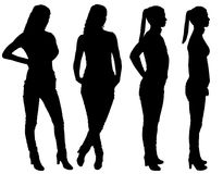 Vector silhouette of four business women stock photos