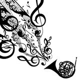 Vector Silhouette of French Horn with Musical Symbols Stock Photography