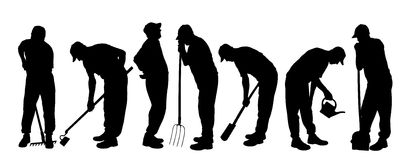 Vector silhouette of gardener. Stock Image