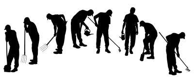 Vector silhouette of gardener. Royalty Free Stock Image