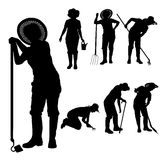 Vector silhouette of a gardener. Royalty Free Stock Photo