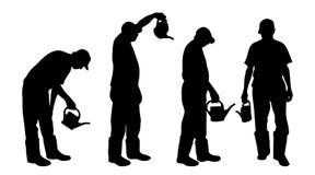 Vector silhouette of gardener. Stock Photography