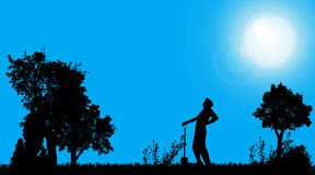 Vector silhouette of a gardener. Royalty Free Stock Images