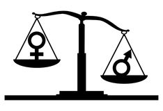 Vector silhouette of gender symbols on the scales of justice where the male symbol predominates Royalty Free Stock Photo