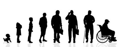 Vector silhouette generation men. Royalty Free Stock Photo