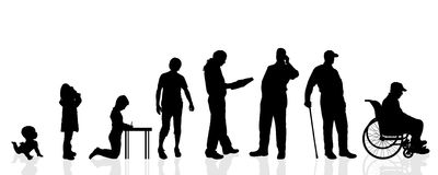 Vector silhouette generation men. Royalty Free Stock Photos