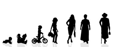 Vector silhouette generation women. Stock Photos