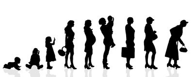 Vector silhouette generation women. Royalty Free Stock Photos