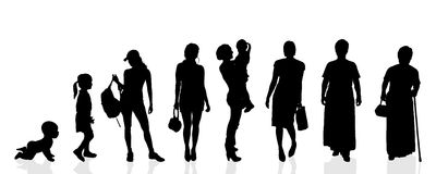 Vector silhouette generation women. Stock Image