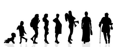 Vector silhouette generation women. vector illustration