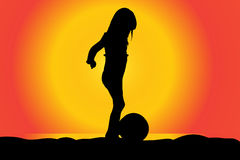 Vector silhouette of girl. Vector silhouette of girl on a beach at sunset Royalty Free Stock Image