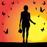 Vector silhouette of girl. Royalty Free Stock Photo