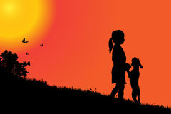 Vector silhouette of a girl. Vector silhouette of a girl with a dog at sunset Royalty Free Stock Photography