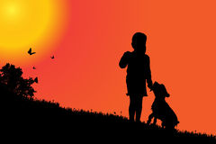 Vector silhouette of a girl. Vector silhouette of a girl with a dog at sunset Stock Images