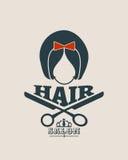 Vector silhouette of a girl retro style hair. Beauty salon emblem Royalty Free Stock Photos