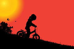 Vector silhouette of a girl. Vector silhouette of a girl at sunset Royalty Free Stock Image