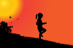Vector silhouette of a girl. Vector silhouette of a girl at sunset Royalty Free Stock Photography
