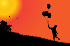 Vector silhouette of a girl. Vector silhouette of a girl at sunset Stock Photo