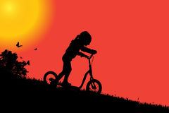 Vector silhouette of a girl. Vector silhouette of a girl at sunset Royalty Free Stock Photo