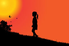 Vector silhouette of a girl. Vector silhouette of a girl at sunset Stock Photography