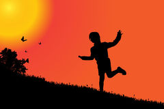 Vector silhouette of a girl. Vector silhouette of a girl at sunset Royalty Free Stock Photos